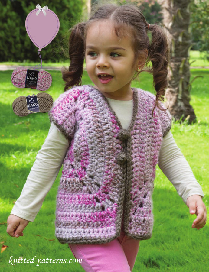 Crochet Patterns For Childrens Vests : Girls vest crochet pattern free
