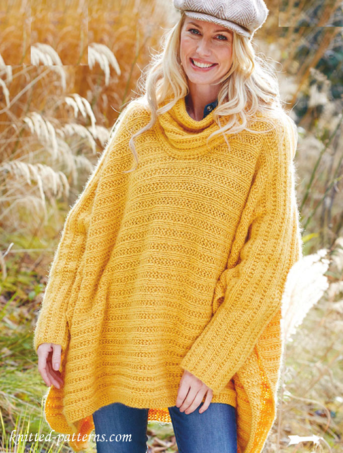 Free Knitting Patterns Ladies : Poncho Jumper knitting pattern free