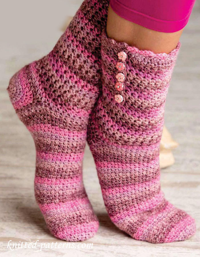 Knit Pattern Baby Booties : Crochet socks pattern free