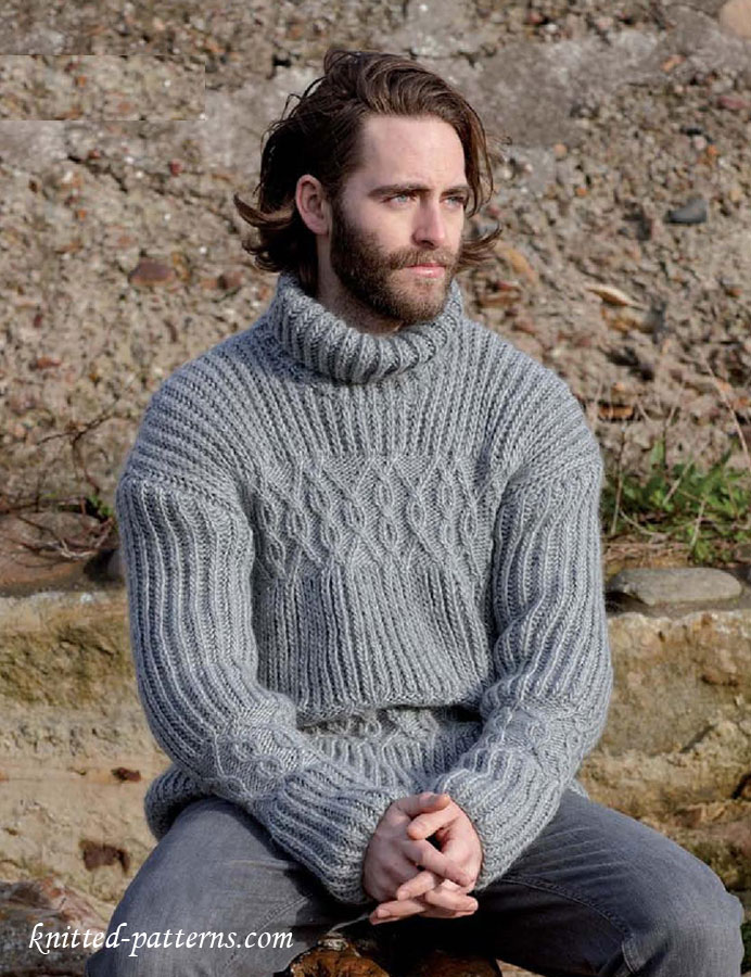 Cable sweater for men\'s knitting pattern free