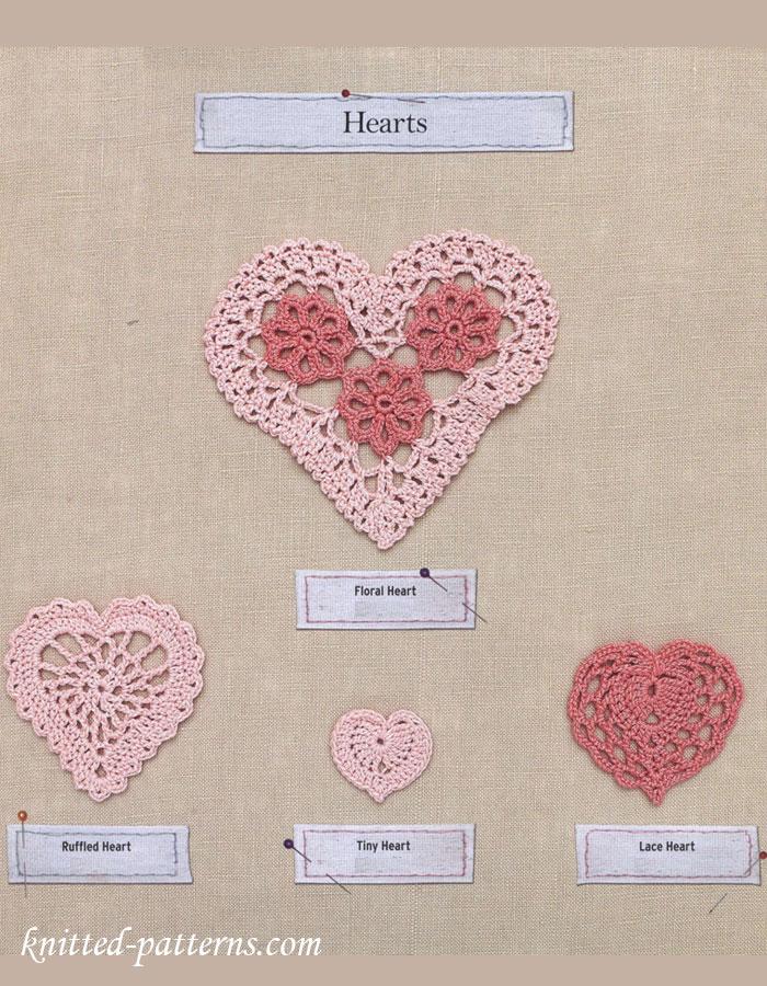 Tiny Heart Knitting Pattern : Hearts crochet patterns free