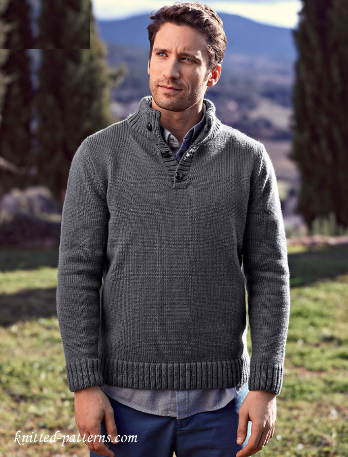 Mens Cardigan Knitting Patterns : Button neck sweater knitting pattern free
