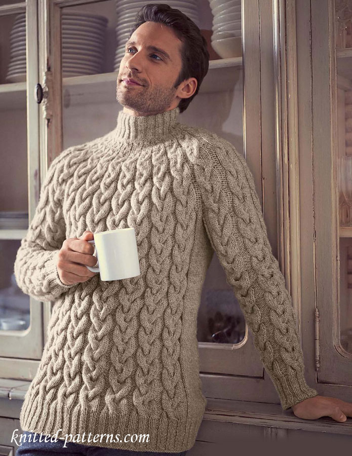Free Crochet Pattern For Cabled Sweater : Top-down cable sweater knitting pattern