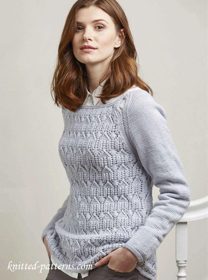 Knitting Sweater Patterns For Women : Wide-neck raglan jumper knitting pattern free