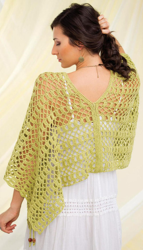 Knitting Pattern Side Button Poncho : Womens Cover Up crochet pattern free