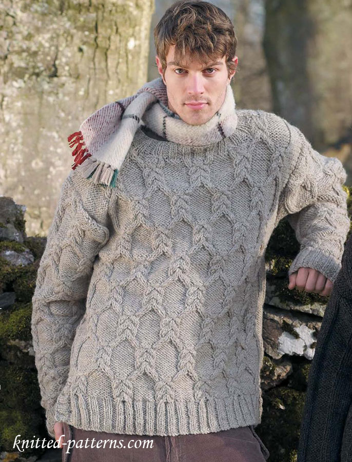 Mens cable sweater knitting pattern