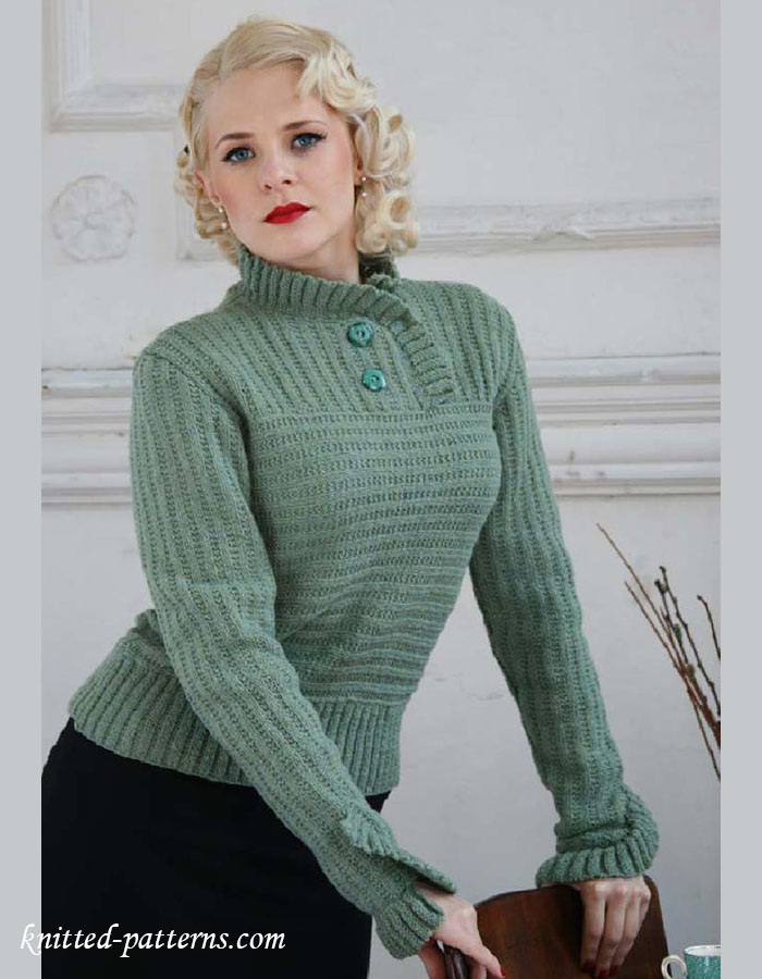 Knitting Pattern Holey Jumper : Frill jumper knitting pattern