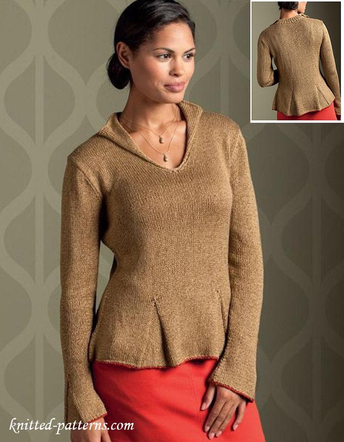 Womens V-neck pullover knitting pattern