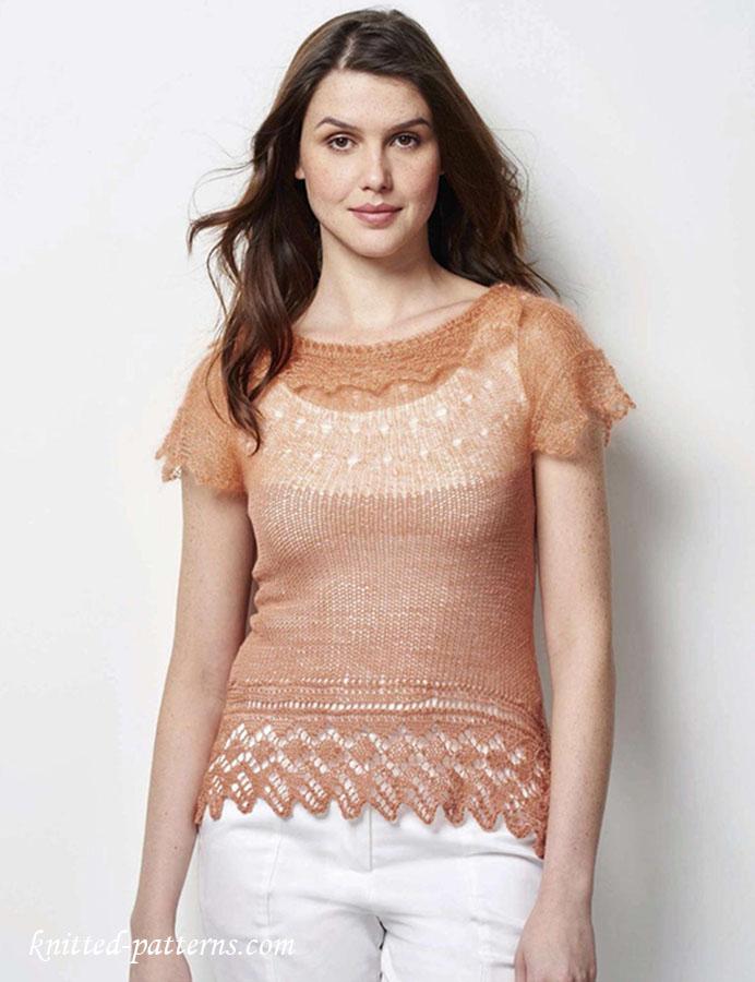 Knitted lace t-shirt pattern