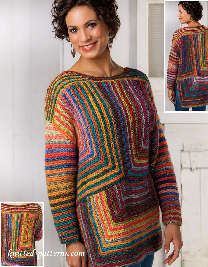 Ladies Knitting Patterns : Garter stitch pullover pattern