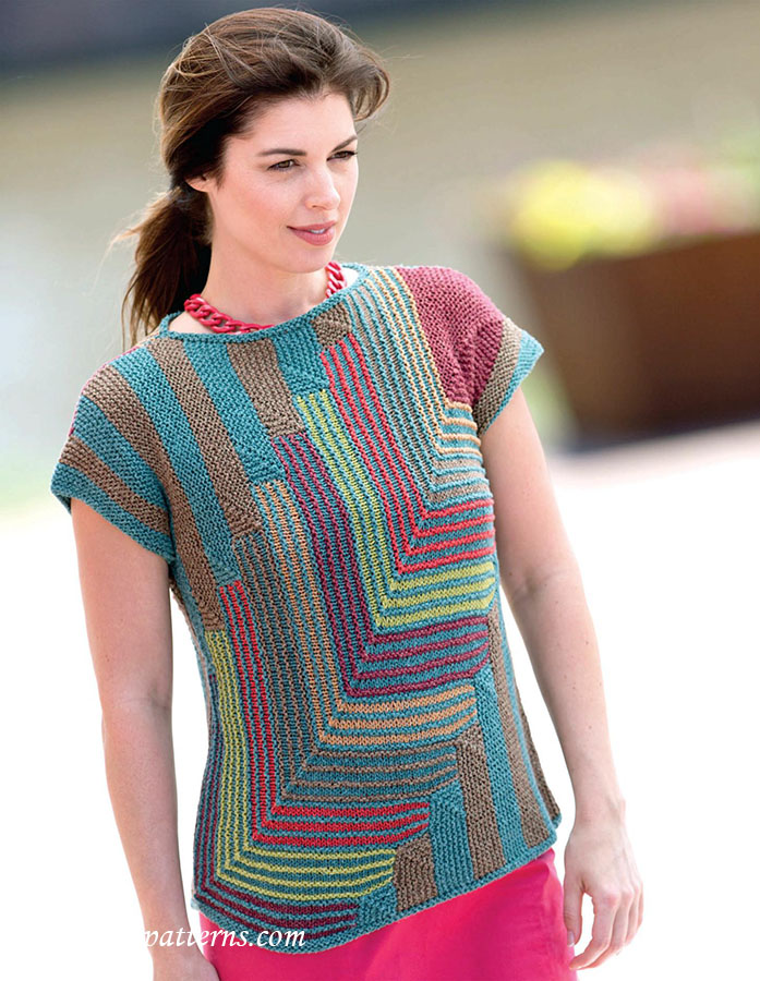 Striped pullover knitting pattern