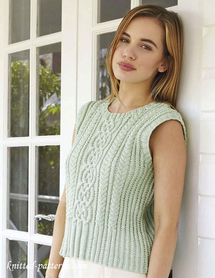 Cabled tank top knitting pattern