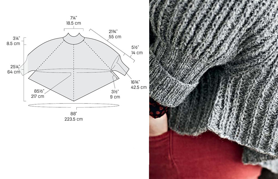 Knitting Pattern For Cape With Sleeves : Poncho with sleeves knitting pattern