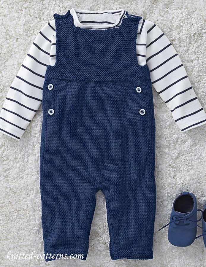 Baby Boy Dungarees Knitting Pattern : Knitted dungarees for babies
