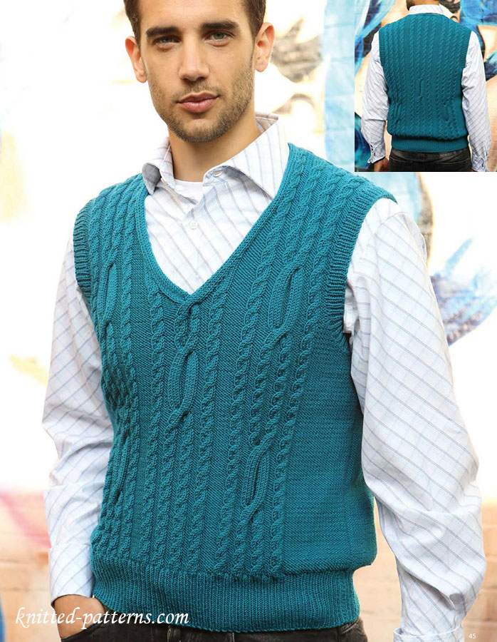 Knitting Pattern Mens Sleeveless Vest : Mens cabled tank top knitting pattern