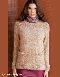 Knitting Patterns For Ladies Jerseys : Knitted raglan pullover with pockets