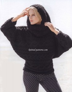 Dolman pullover with cable pattern