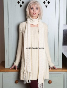 Cable jumper dress and scarf