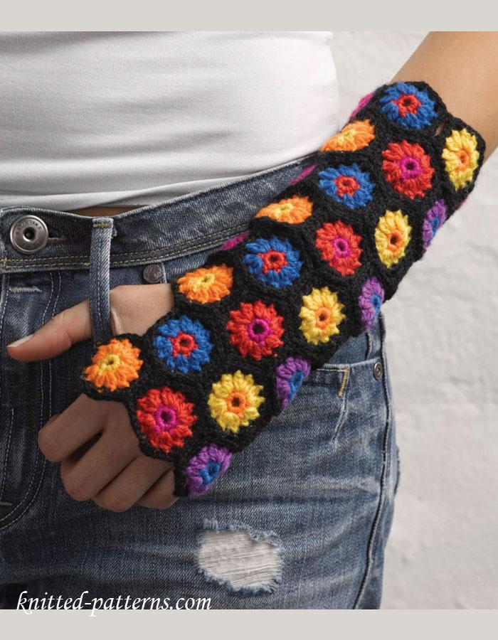 hexagon mitts crochet free pattern