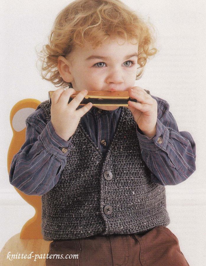 Little boy waistcoat crochet pattern free