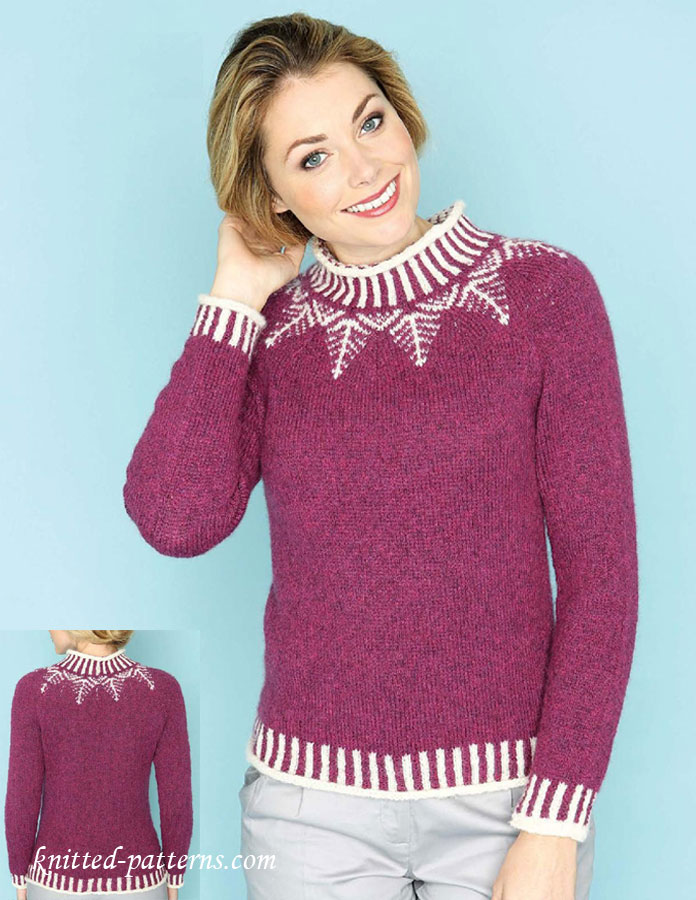 4824739279 Fair isle yoke sweater knitting