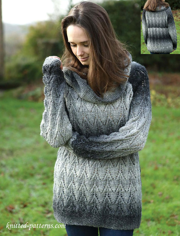 Lace Raglan Sweater Knitting Pattern Free