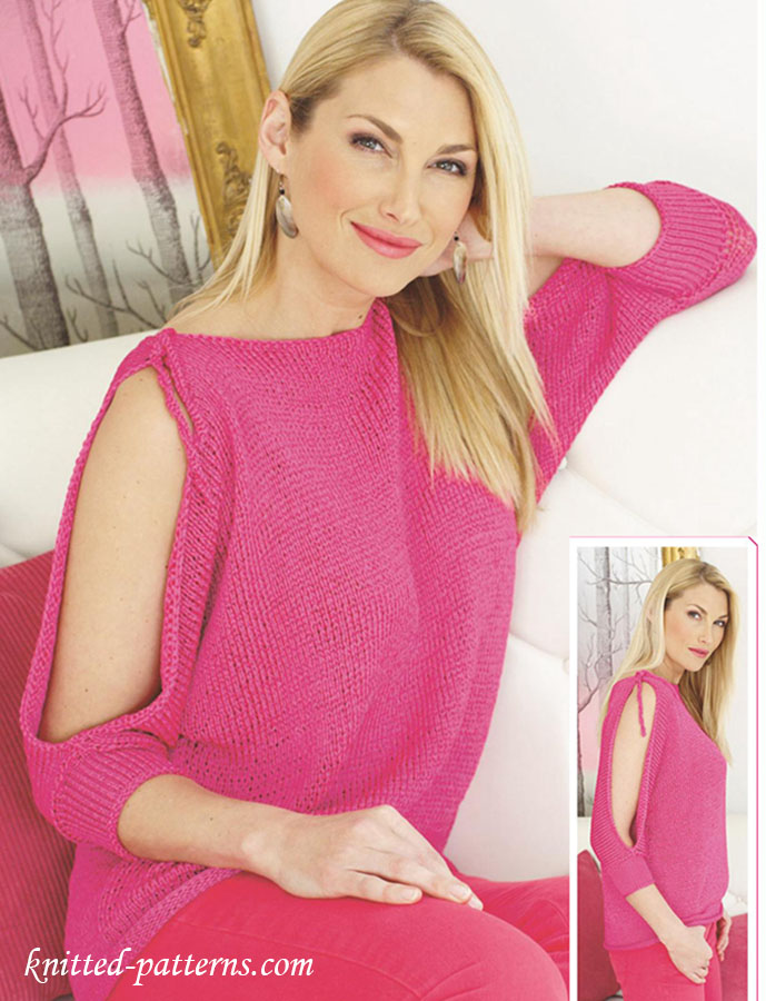 d805a263acf9f Cold-shoulder top knitting pattern