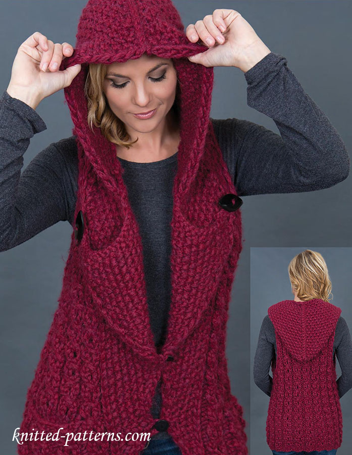 Hooded Vest Knitting Pattern