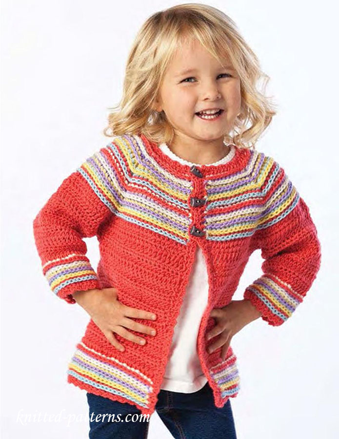 Top Down Raglan Girl Cardigan