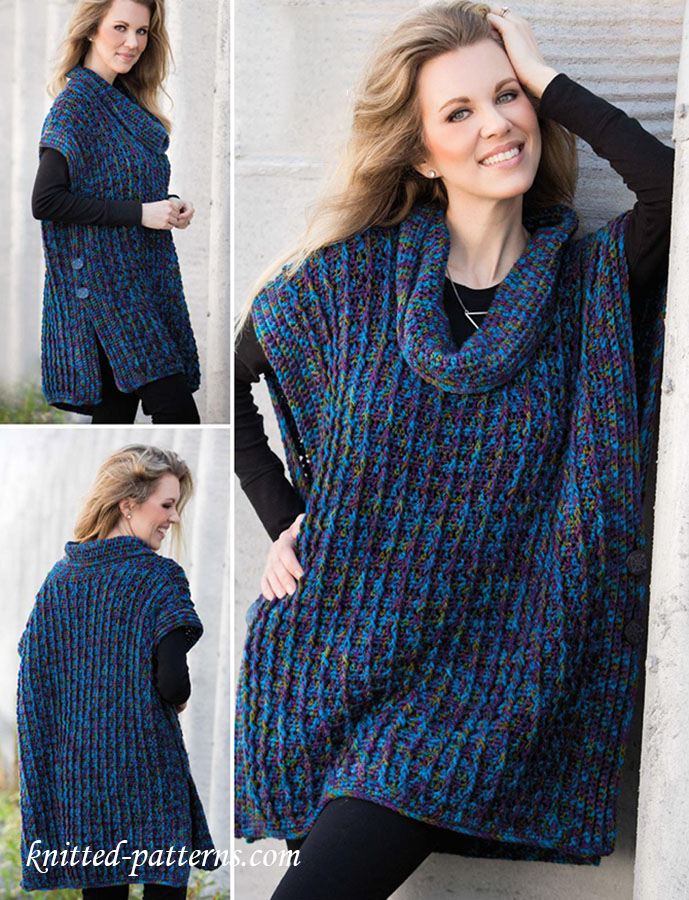 Cowl Neck Poncho Crochet Pattern