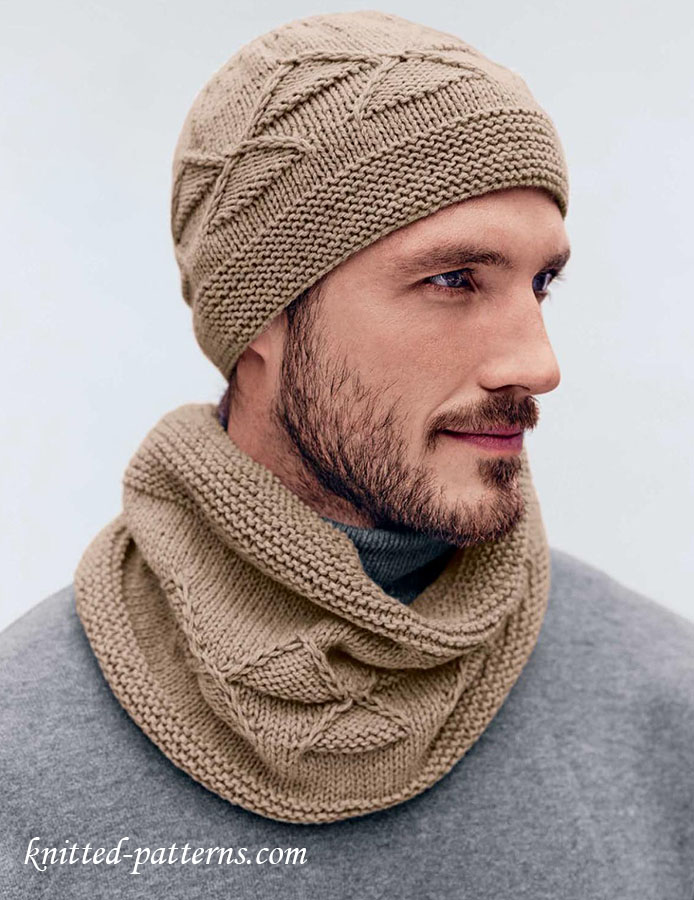 Mens Hat And Cowl Knitting Pattern