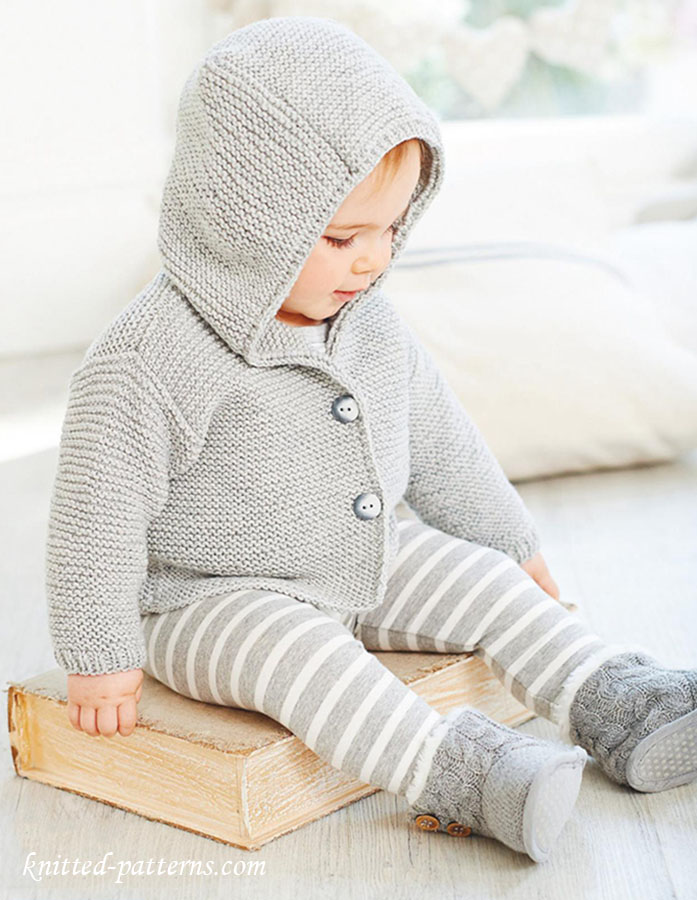 Baby hooded jacket knitting pattern