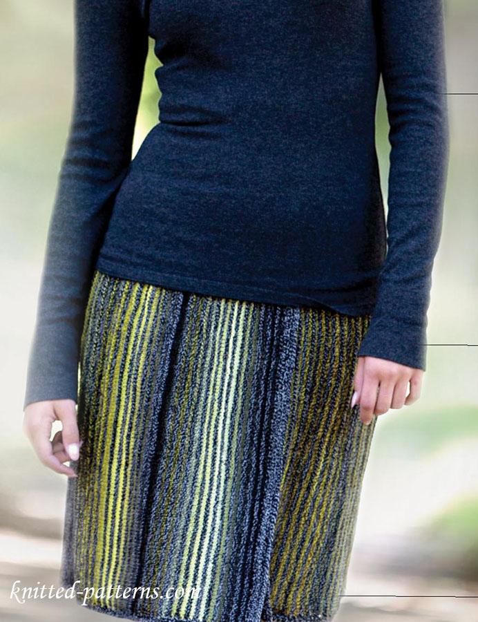 Striped skirt knitting pattern