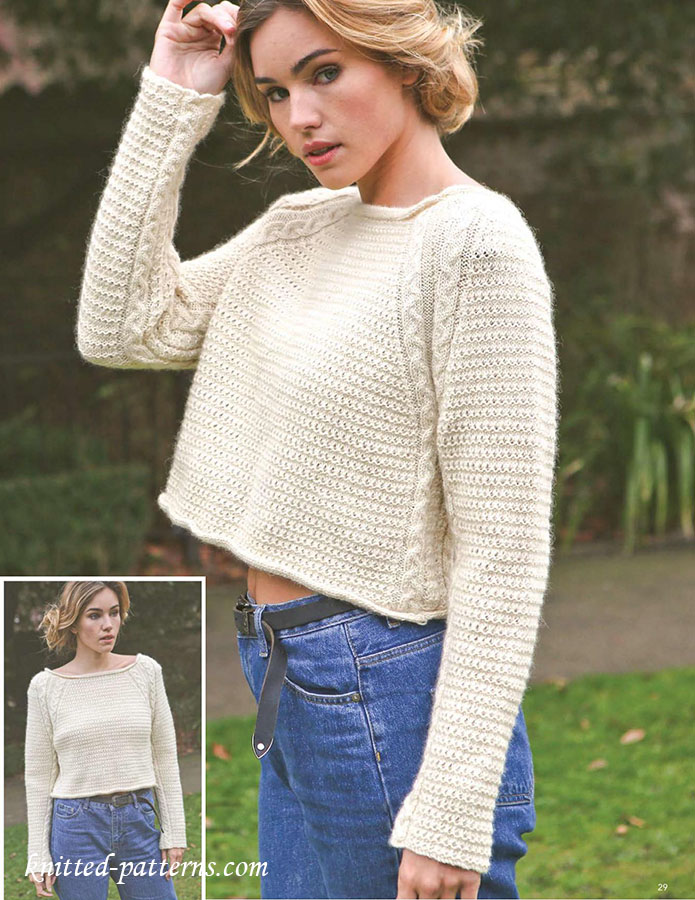 Cropped jumper knitting pattern