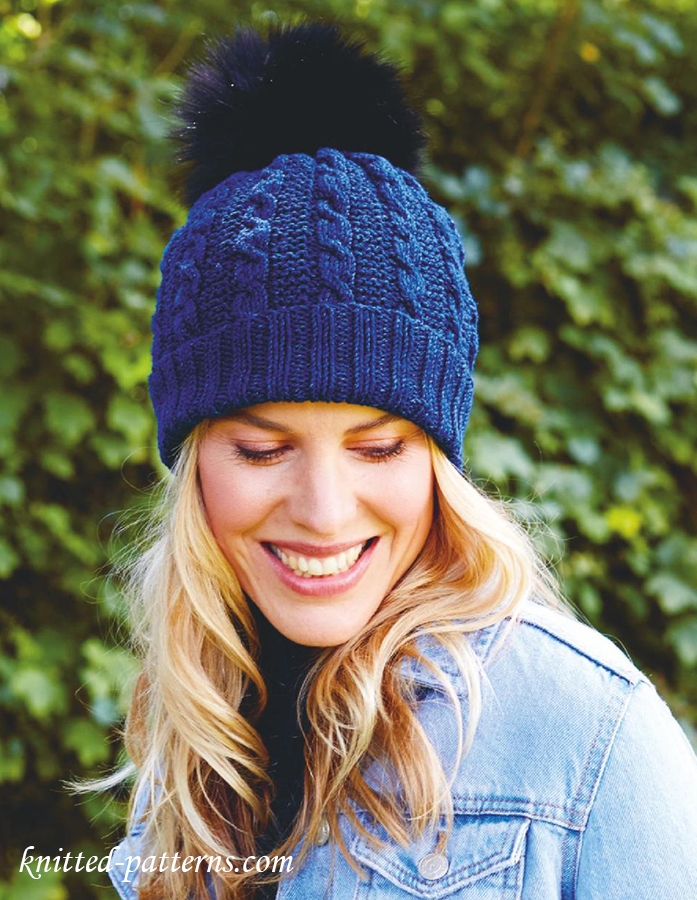 Pompom hat knitting pattern free