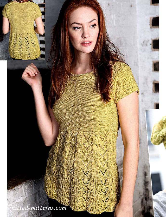 Lace And Cable T Shirt Knitting Pattern Free