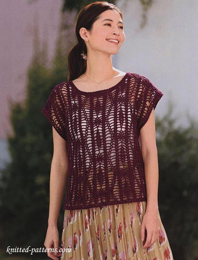 Net Lace Top Free Crochet Diagram