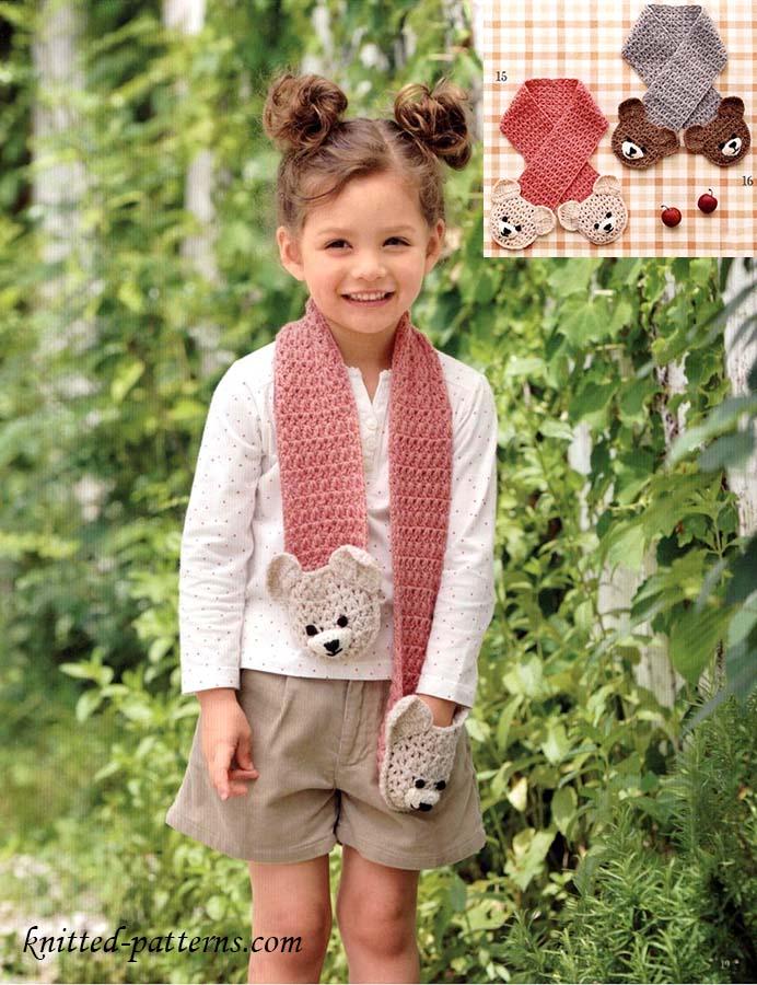 Free Crochet Diagram Bears Pocket Scarf