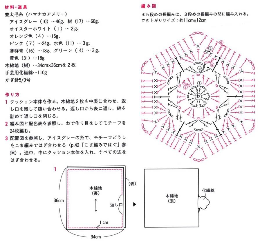 african flower cushion free crochet diagram Japanese Crochet Shoe Diagrams crochet slippers japanese diagrams