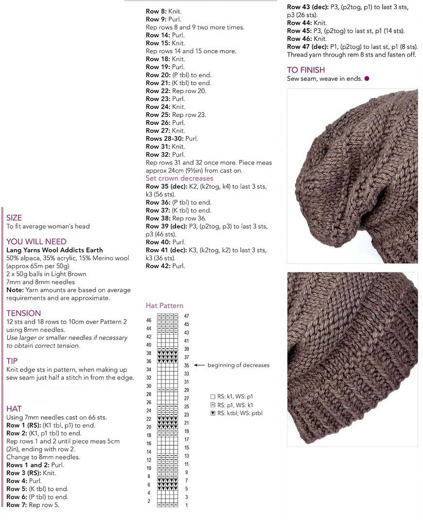 Free knitting pattern and chart hat