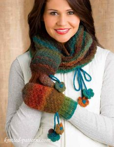 Cowl & Mitts knitting patterns free